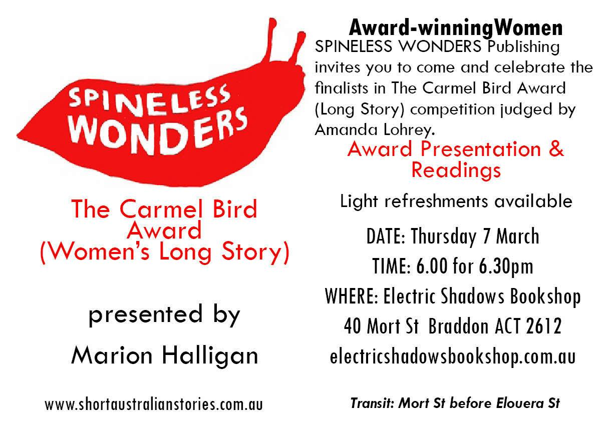 The Carmel Bird Award Presentation invite