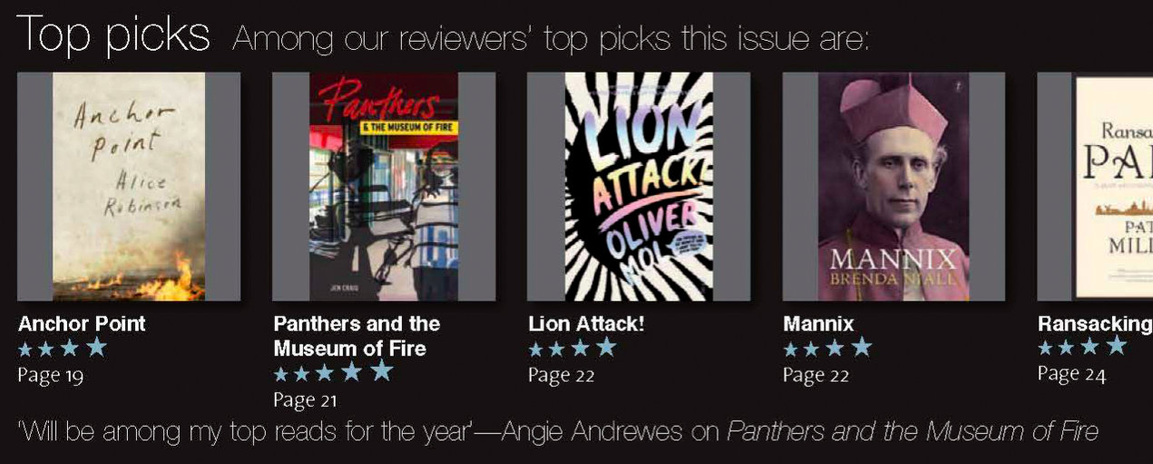 Books & Publishing's five-star rating of Panthers and the Museum of Fire