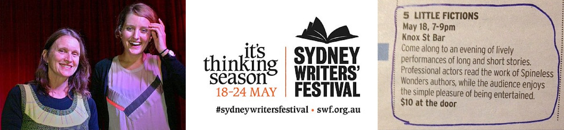 Claire Aman, Eleni Schumacher and Sydney Writers' Festival banner