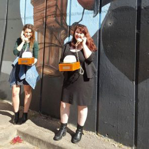 Ashley and Emma and the NYWF17 storyphones